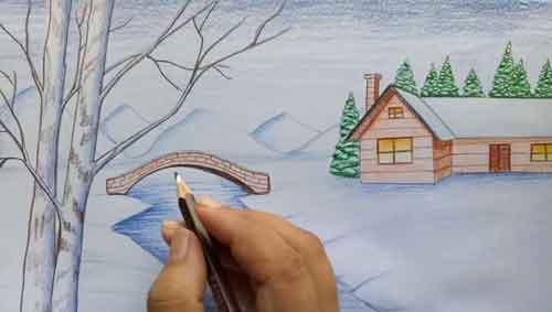 نقاشی-منظره-برفی-با-مداد-رنگی۴۴