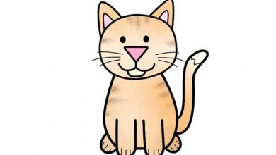 تصویر از آموزش تصویری و گام به گام نقاشی گربه برای کودکان +فیلم