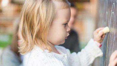 کودک چپ دست در حال نقاشی